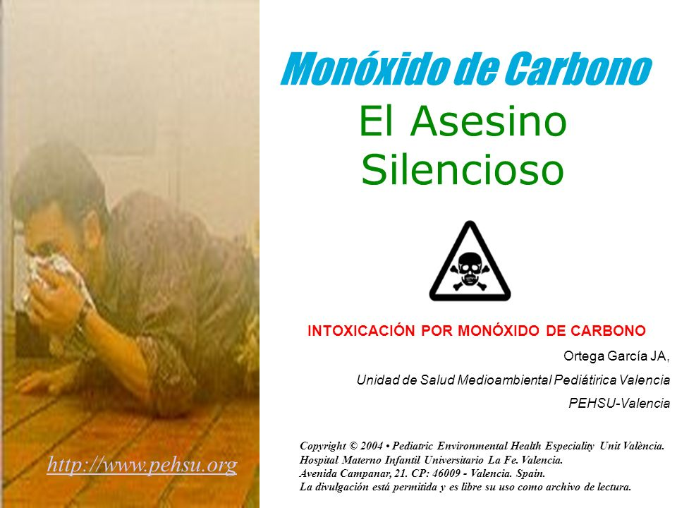 Monóxido de Carbono El Asesino Silencioso INTOXICACIÓN POR MONÓXIDO DE CARBONO Ortega García JA, Unidad de Salud Medioambiental Pediátirica Valencia PEHSU-Valencia http://www.pehsu.org Copyright © 2004 Pediatric Environmental Health Especiality Unit València.