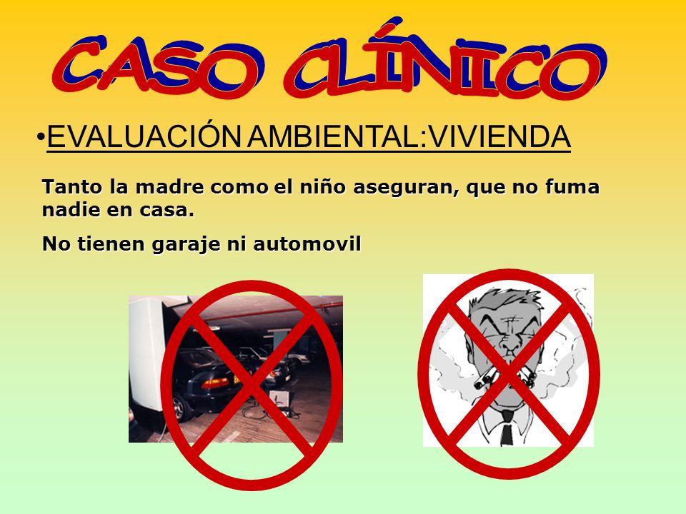 EVALUACIÓN AMBIENTAL:VIVIENDA Tanto la madre como el niño aseguran, que no fuma nadie en casa. No tienen garaje ni automovil