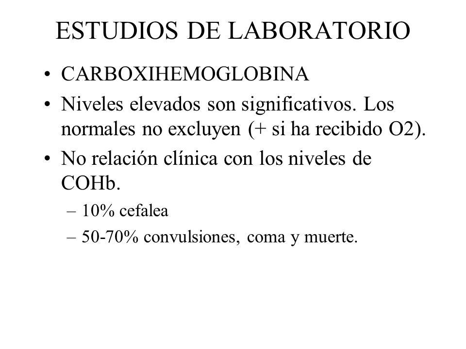 ESTUDIOS DE LABORATORIO CARBOXIHEMOGLOBINA Niveles elevados son significativos. Los normales no excluyen (+ si ha recibido O2). No relación clínica co
