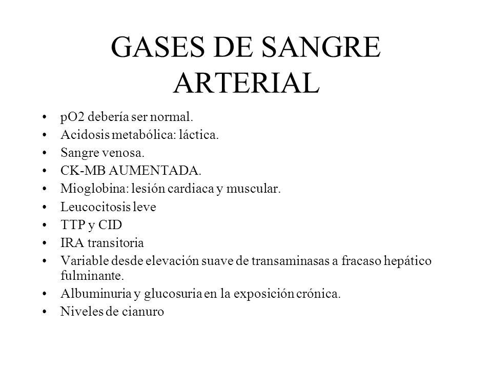 GASES DE SANGRE ARTERIAL pO2 debería ser normal. Acidosis metabólica: láctica. Sangre venosa. CK-MB AUMENTADA. Mioglobina: lesión cardiaca y muscular.