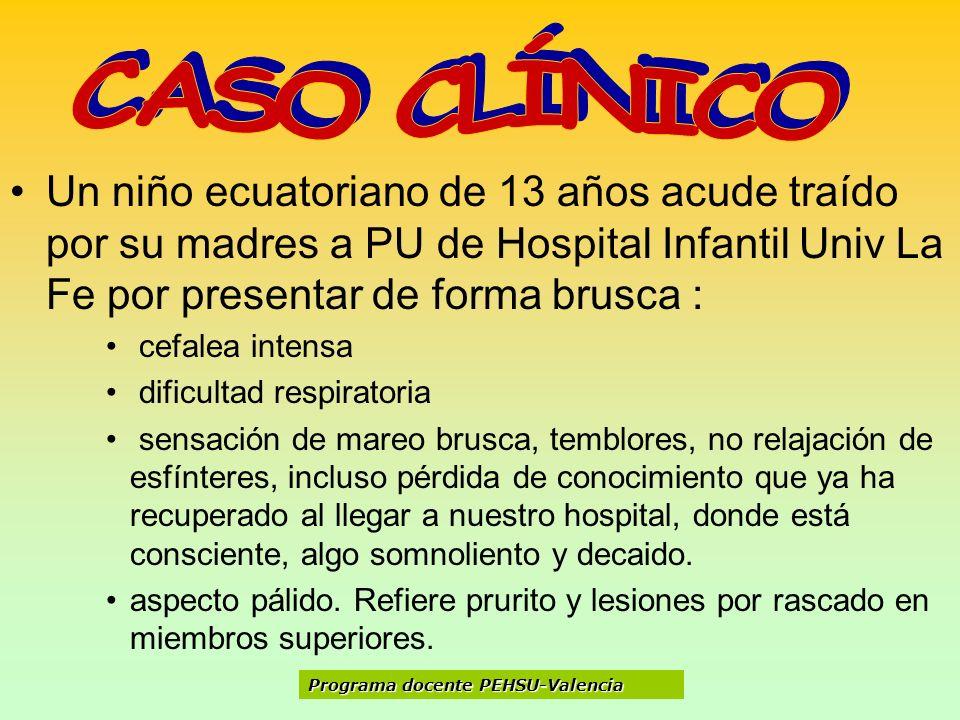 Un niño ecuatoriano de 13 años acude traído por su madres a PU de Hospital Infantil Univ La Fe por presentar de forma brusca : cefalea intensa dificul