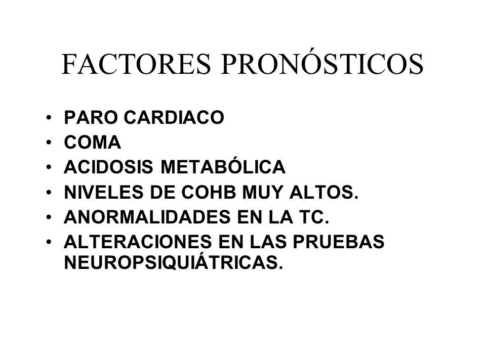 FACTORES PRONÓSTICOS PARO CARDIACO COMA ACIDOSIS METABÓLICA NIVELES DE COHB MUY ALTOS. ANORMALIDADES EN LA TC. ALTERACIONES EN LAS PRUEBAS NEUROPSIQUI