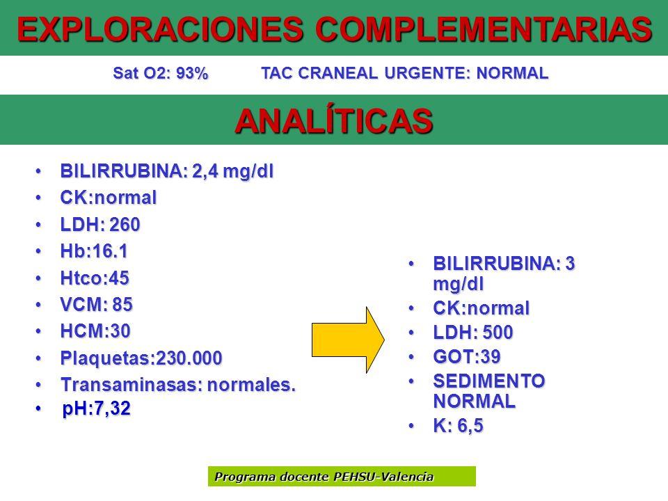 ANALÍTICAS BILIRRUBINA: 2,4 mg/dlBILIRRUBINA: 2,4 mg/dl CK:normalCK:normal LDH: 260LDH: 260 Hb:16.1Hb:16.1 Htco:45Htco:45 VCM: 85VCM: 85 HCM:30HCM:30