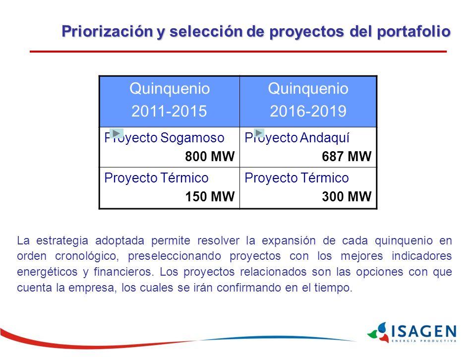 Priorización y selección de proyectos del portafolio La estrategia adoptada permite resolver la expansión de cada quinquenio en orden cronológico, preseleccionando proyectos con los mejores indicadores energéticos y financieros.
