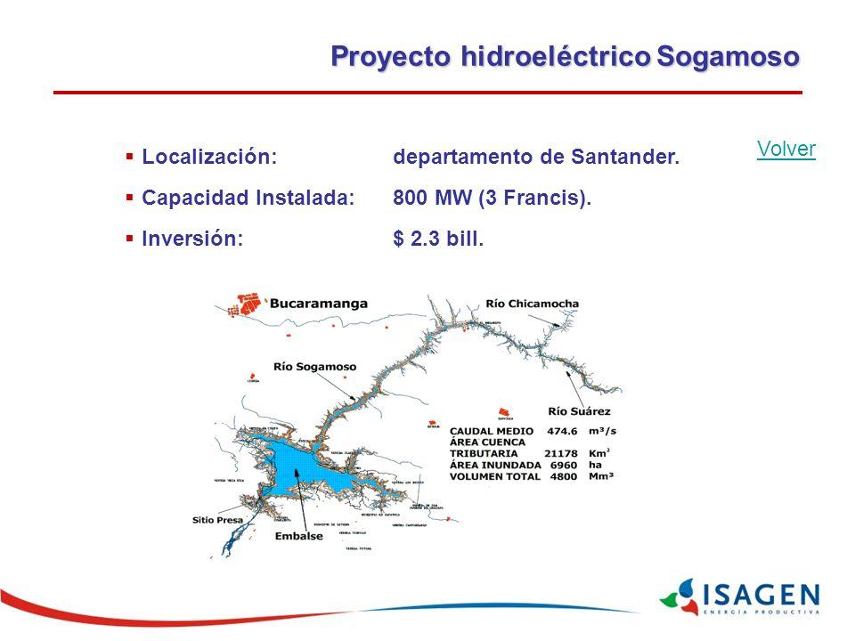 Proyecto hidroeléctrico Sogamoso Localización: departamento de Santander.
