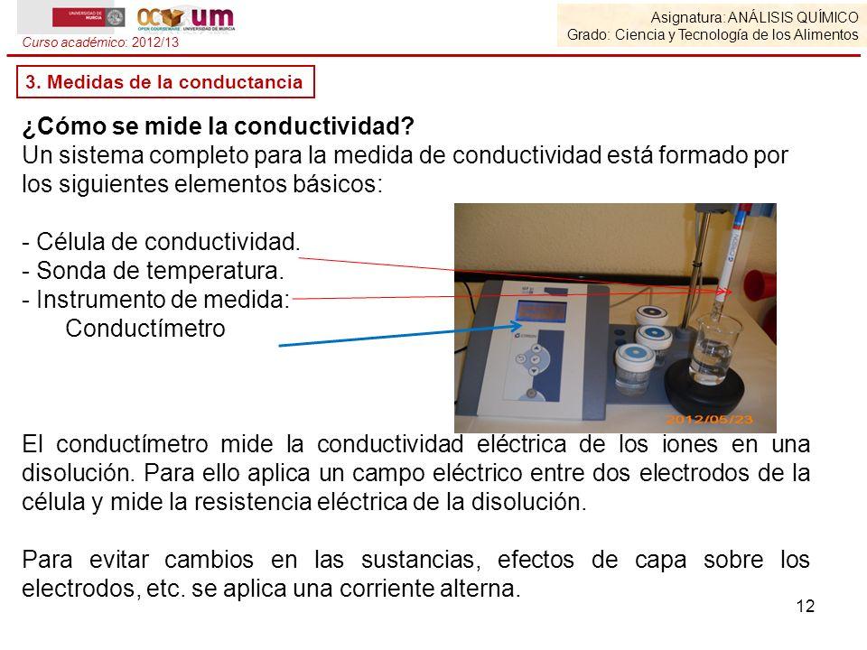 Asignatura: ANÁLISIS QUÍMICO Grado: Ciencia y Tecnología de los Alimentos Curso académico: 2012/13 ¿Cómo se mide la conductividad? Un sistema completo