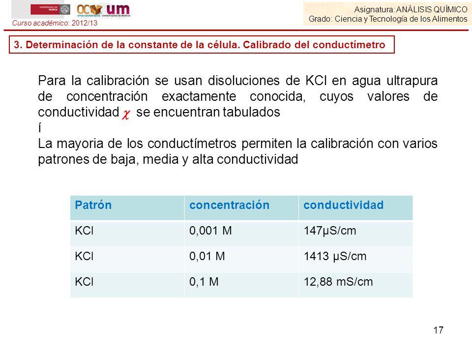 17 Para la calibración se usan disoluciones de KCl en agua ultrapura de concentración exactamente conocida, cuyos valores de conductividad se encuentr