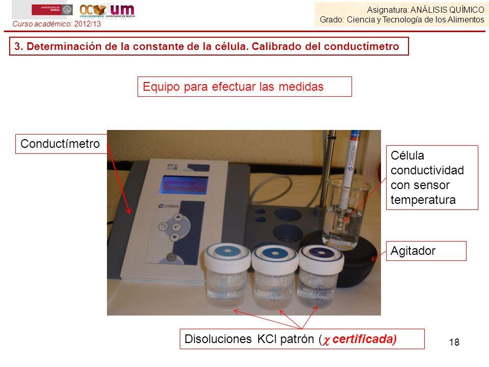 18 Asignatura: ANÁLISIS QUÍMICO Grado: Ciencia y Tecnología de los Alimentos Curso académico: 2012/13 Equipo para efectuar las medidas Conductímetro D