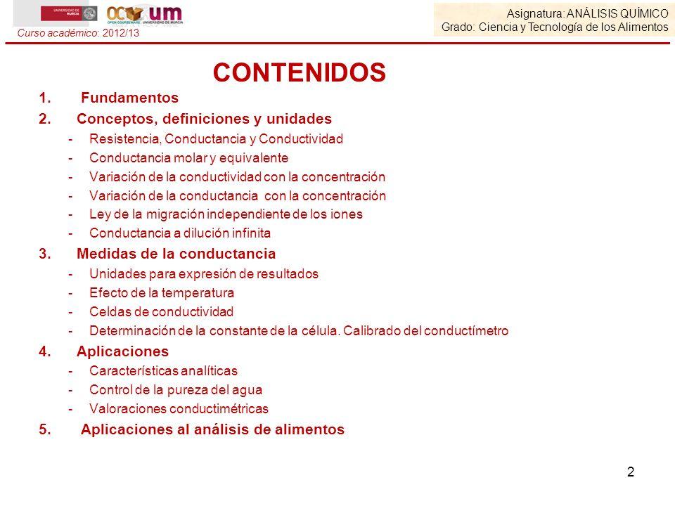 1. Fundamentos 2.Conceptos, definiciones y unidades -Resistencia, Conductancia y Conductividad -Conductancia molar y equivalente -Variación de la cond
