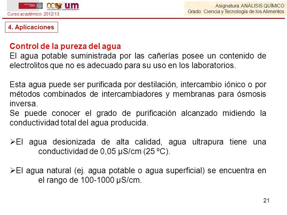Asignatura: ANÁLISIS QUÍMICO Grado: Ciencia y Tecnología de los Alimentos Curso académico: 2012/13 4. Aplicaciones Control de la pureza del agua El ag