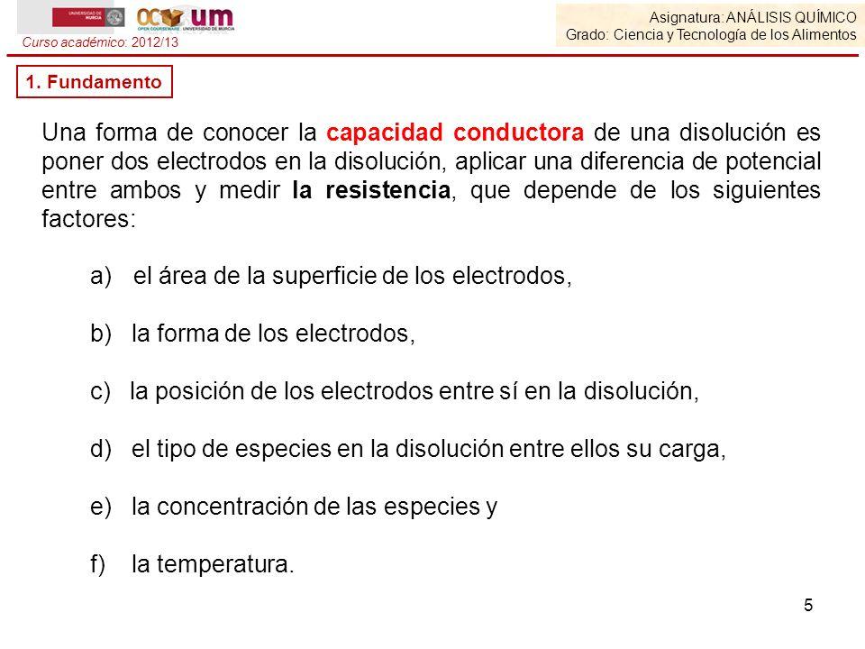 5 a)el área de la superficie de los electrodos, b) la forma de los electrodos, c) la posición de los electrodos entre sí en la disolución, d) el tipo