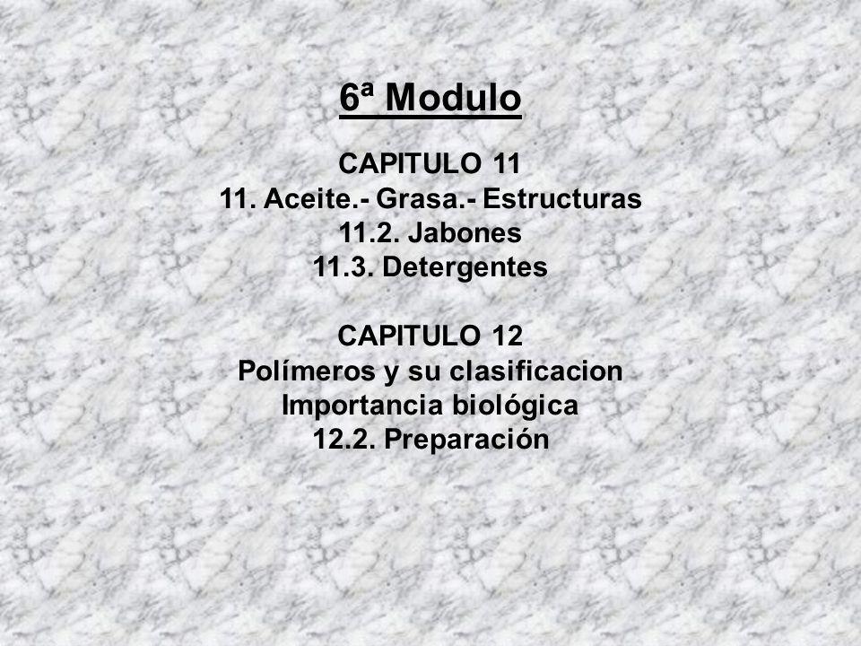 6ª Modulo CAPITULO 11 11. Aceite.- Grasa.- Estructuras 11.2. Jabones 11.3. Detergentes CAPITULO 12 Polímeros y su clasificacion Importancia biológica