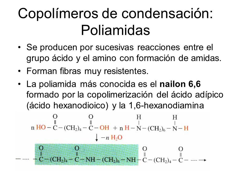 Copolímeros de condensación: Poliamidas Se producen por sucesivas reacciones entre el grupo ácido y el amino con formación de amidas. Forman fibras mu