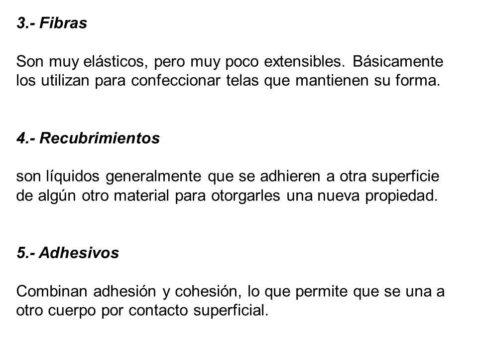 3.- Fibras Son muy elásticos, pero muy poco extensibles.