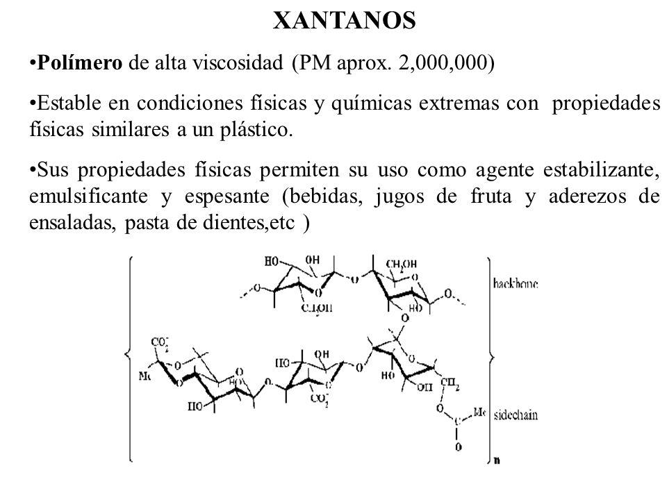 XANTANOS Polímero de alta viscosidad (PM aprox. 2,000,000) Estable en condiciones físicas y químicas extremas con propiedades físicas similares a un p