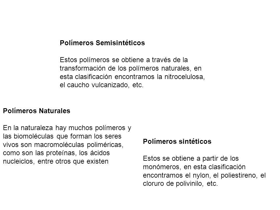 Polímeros Semisintéticos Estos polímeros se obtiene a través de la transformación de los polímeros naturales, en esta clasificación encontramos la nit