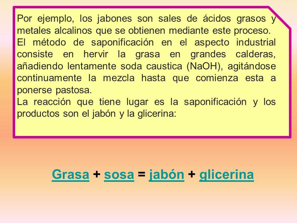 GrasaGrasa + sosa = jabón + glicerinasosajabónglicerina Por ejemplo, los jabones son sales de ácidos grasos y metales alcalinos que se obtienen mediante este proceso.