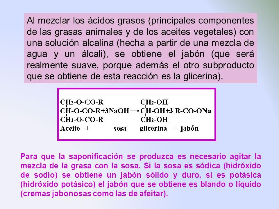 Al mezclar los ácidos grasos (principales componentes de las grasas animales y de los aceites vegetales) con una solución alcalina (hecha a partir de una mezcla de agua y un álcali), se obtiene el jabón (que será realmente suave, porque además el otro subproducto que se obtiene de esta reacción es la glicerina).