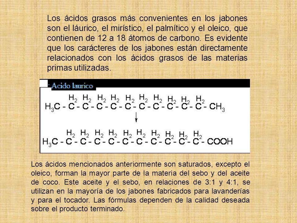 Los ácidos grasos más convenientes en los jabones son el láurico, el mirístico, el palmítico y el oleico, que contienen de 12 a 18 átomos de carbono.