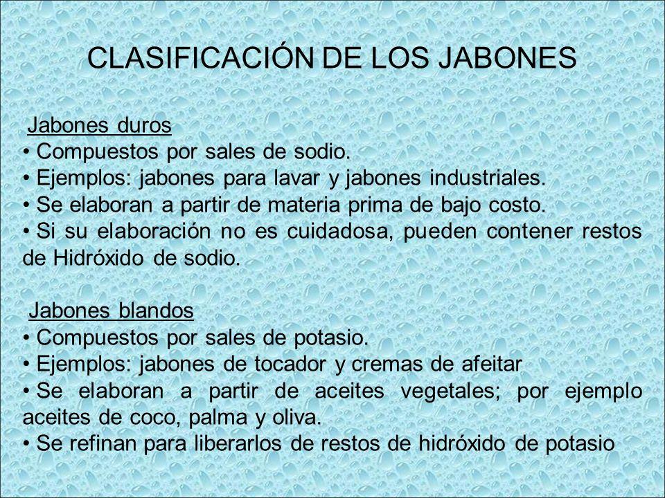CLASIFICACIÓN DE LOS JABONES Jabones duros Compuestos por sales de sodio. Ejemplos: jabones para lavar y jabones industriales. Se elaboran a partir de