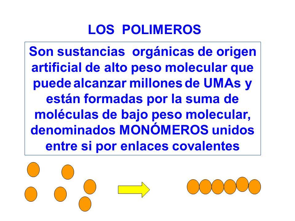 Son sustancias orgánicas de origen artificial de alto peso molecular que puede alcanzar millones de UMAs y están formadas por la suma de moléculas de bajo peso molecular, denominados MONÓMEROS unidos entre si por enlaces covalentes LOS POLIMEROS