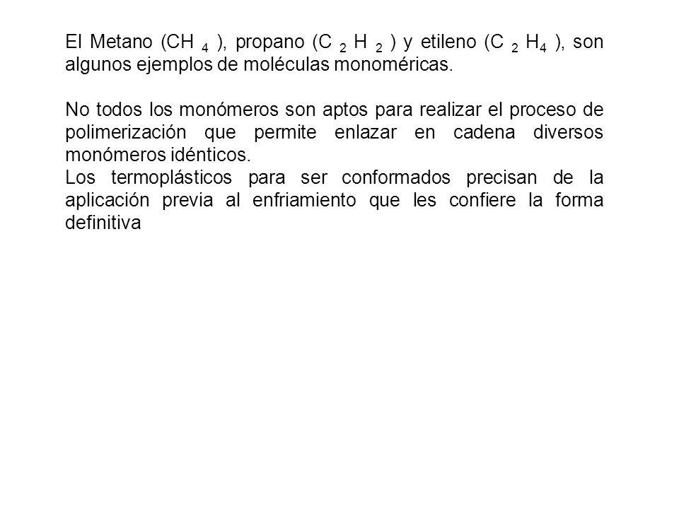El Metano (CH 4 ), propano (C 2 H 2 ) y etileno (C 2 H 4 ), son algunos ejemplos de moléculas monoméricas.