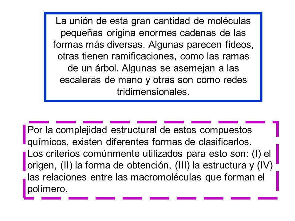 La unión de esta gran cantidad de moléculas pequeñas origina enormes cadenas de las formas más diversas.