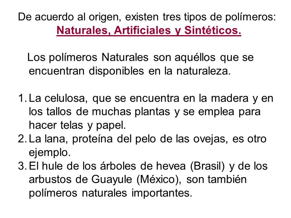 De acuerdo al origen, existen tres tipos de polímeros: Naturales, Artificiales y Sintéticos.