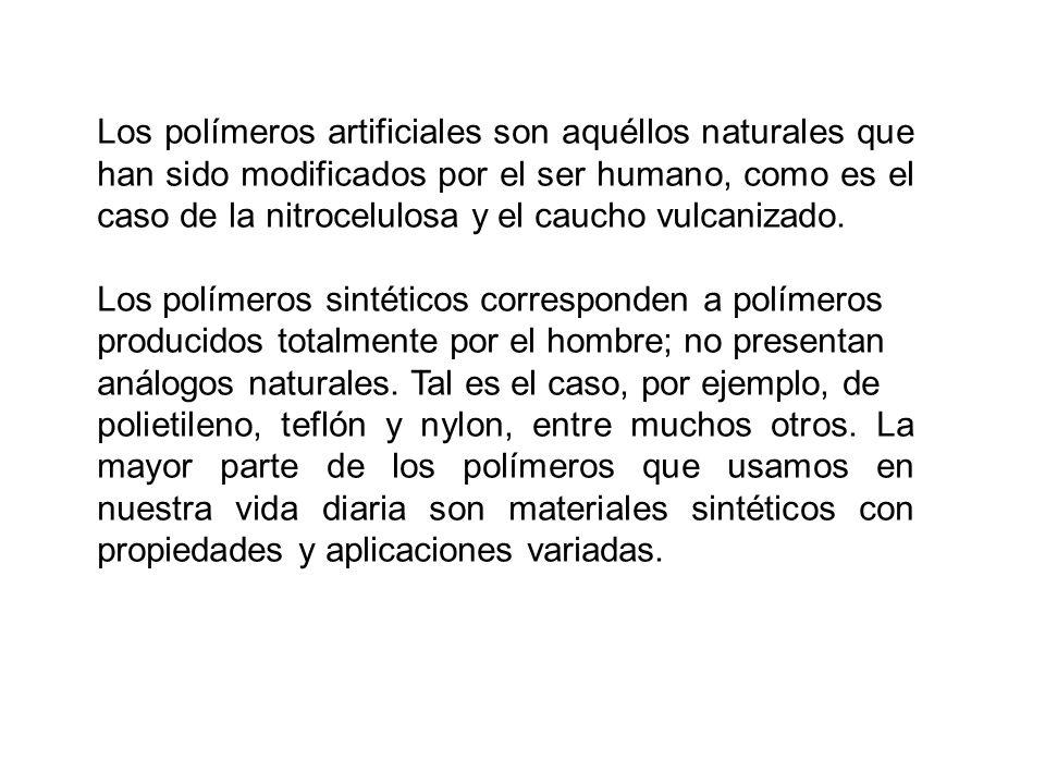 Los polímeros artificiales son aquéllos naturales que han sido modificados por el ser humano, como es el caso de la nitrocelulosa y el caucho vulcanizado.