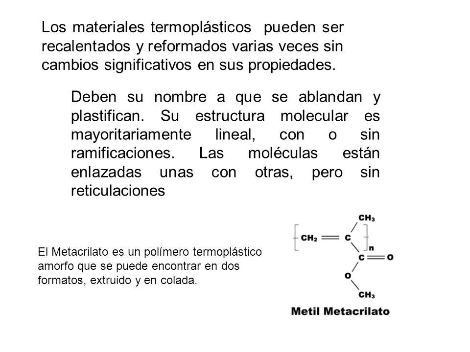 Los materiales termoplásticos pueden ser recalentados y reformados varias veces sin cambios significativos en sus propiedades. Deben su nombre a que s