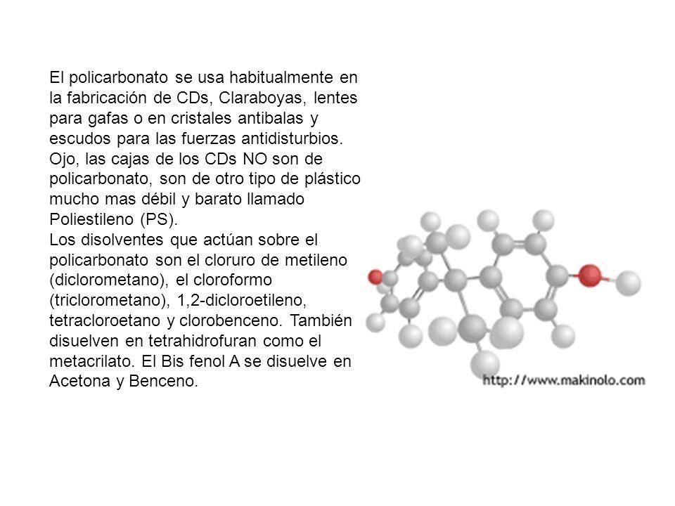 El policarbonato se usa habitualmente en la fabricación de CDs, Claraboyas, lentes para gafas o en cristales antibalas y escudos para las fuerzas antidisturbios.