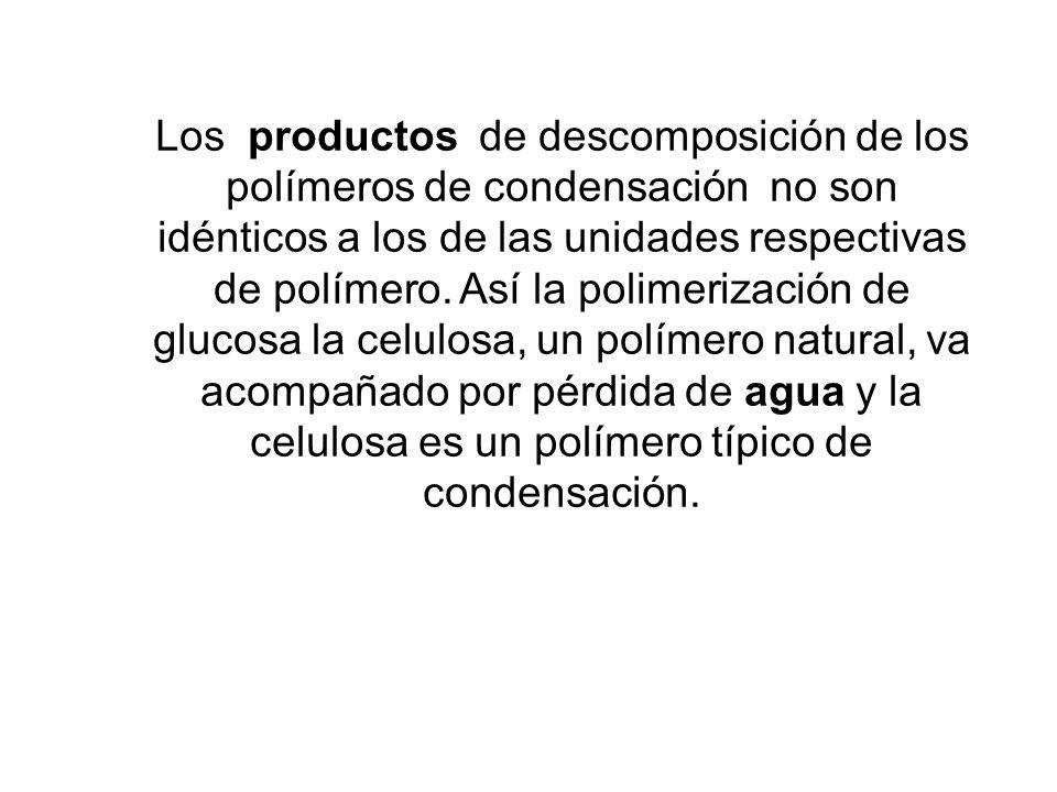 Los productos de descomposición de los polímeros de condensación no son idénticos a los de las unidades respectivas de polímero. Así la polimerización