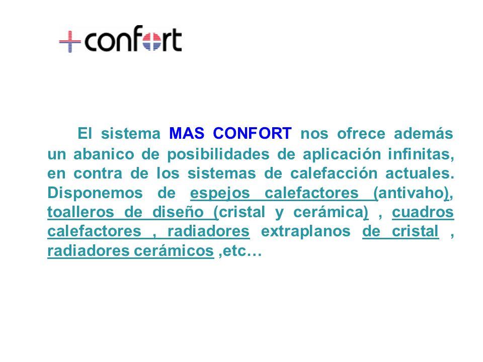 El sistema MAS CONFORT nos ofrece además un abanico de posibilidades de aplicación infinitas, en contra de los sistemas de calefacción actuales. Dispo