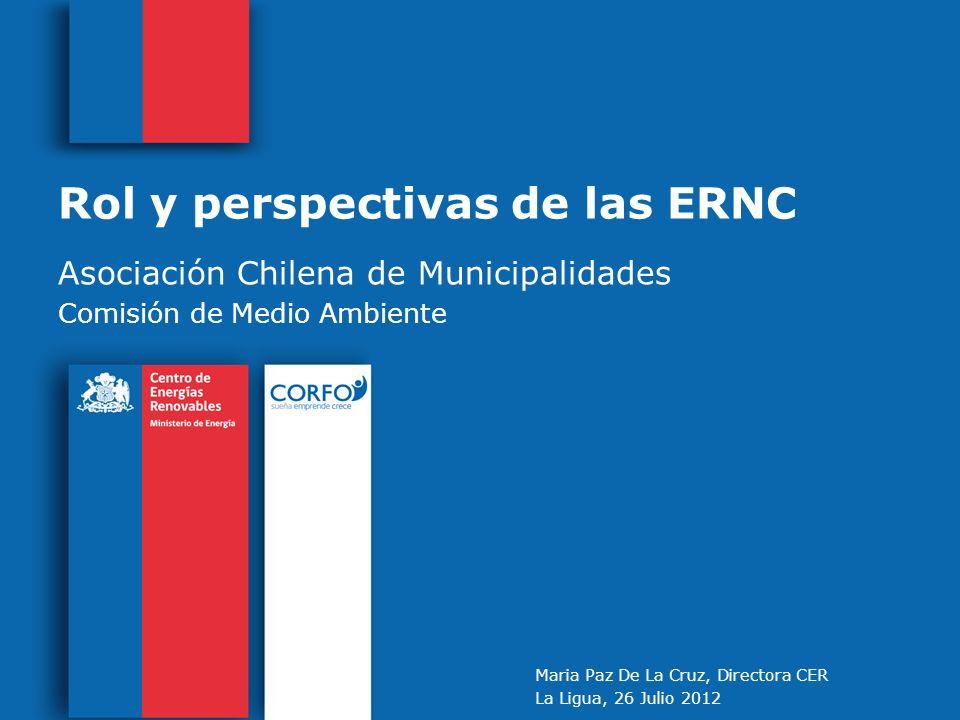 Rol y perspectivas de las ERNC Asociación Chilena de Municipalidades Comisión de Medio Ambiente Maria Paz De La Cruz, Directora CER La Ligua, 26 Julio