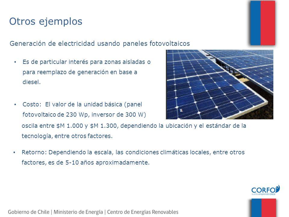 Generación de electricidad usando paneles fotovoltaicos oscila entre $M 1.000 y $M 1.300, dependiendo la ubicación y el estándar de la tecnología, ent