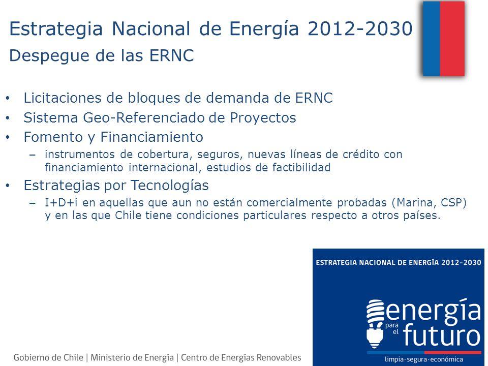 Licitaciones de bloques de demanda de ERNC Sistema Geo-Referenciado de Proyectos Fomento y Financiamiento – instrumentos de cobertura, seguros, nuevas