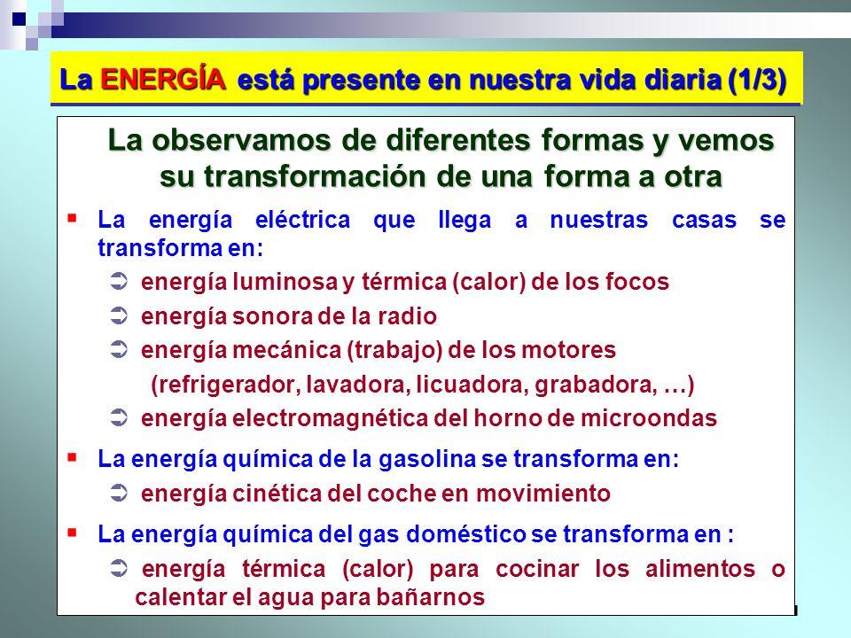 11 La ENERGÍA está presente en nuestra vida diaria (1/3) La observamos de diferentes formas y vemos su transformación de una forma a otra La energía e