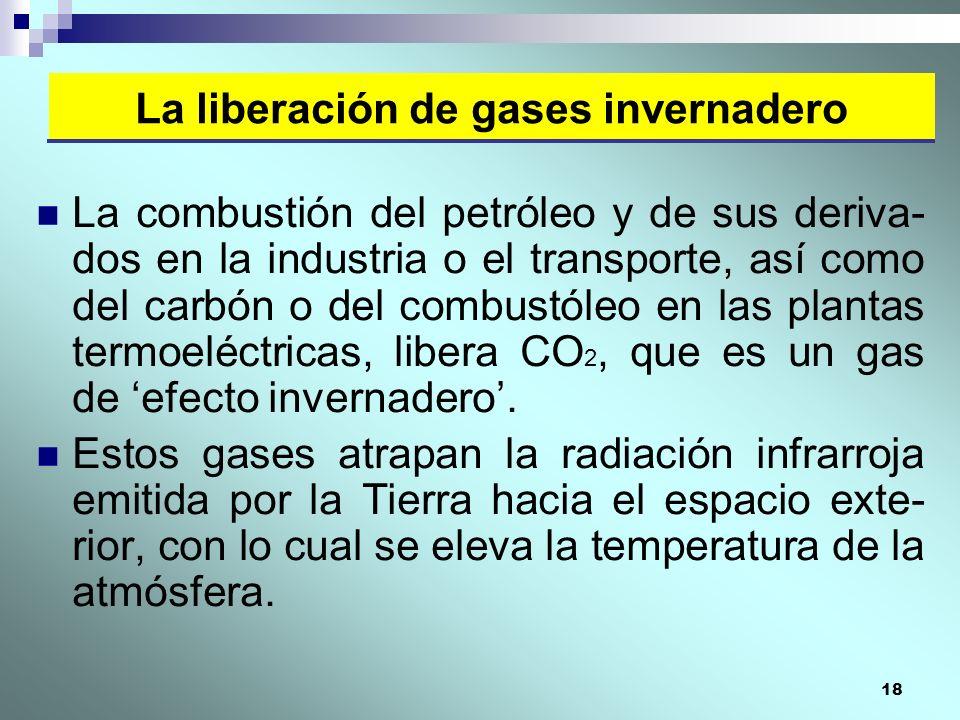 18 La combustión del petróleo y de sus deriva- dos en la industria o el transporte, así como del carbón o del combustóleo en las plantas termoeléctric