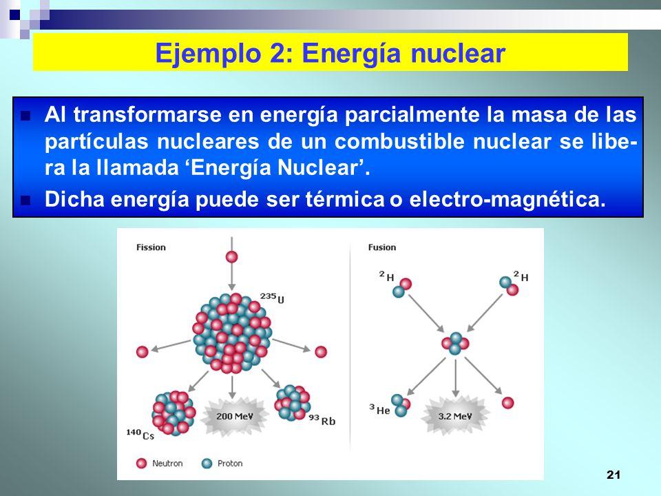 21 Ejemplo 2: Energía nuclear Al transformarse en energía parcialmente la masa de las partículas nucleares de un combustible nuclear se libe- ra la ll