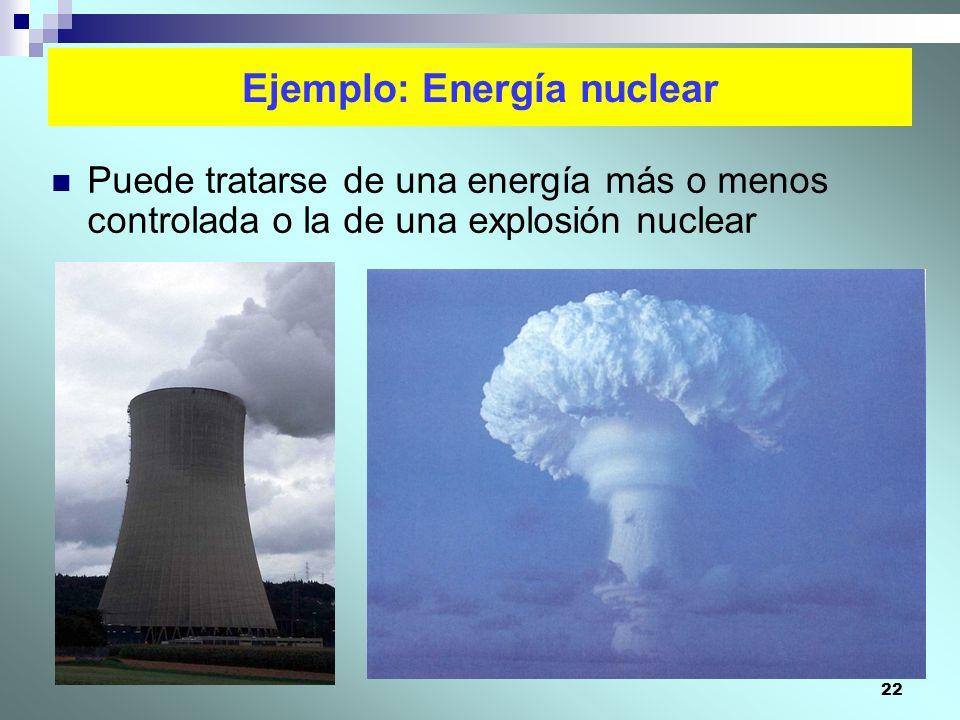 22 Ejemplo: Energía nuclear Puede tratarse de una energía más o menos controlada o la de una explosión nuclear