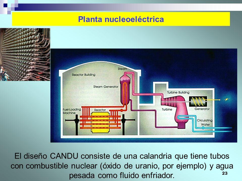 23 Planta nucleoeléctrica El diseño CANDU consiste de una calandria que tiene tubos con combustible nuclear (óxido de uranio, por ejemplo) y agua pesa
