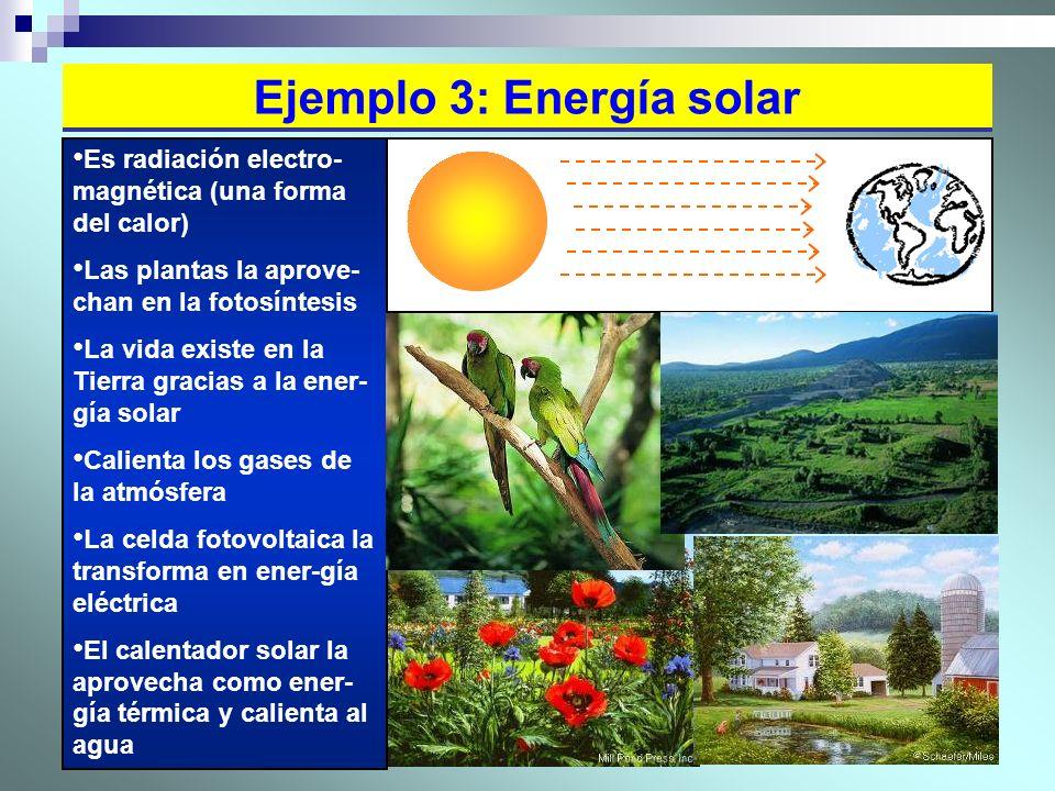 26 Ejemplo 3: Energía solar Es radiación electro- magnética (una forma del calor) Las plantas la aprove- chan en la fotosíntesis La vida existe en la