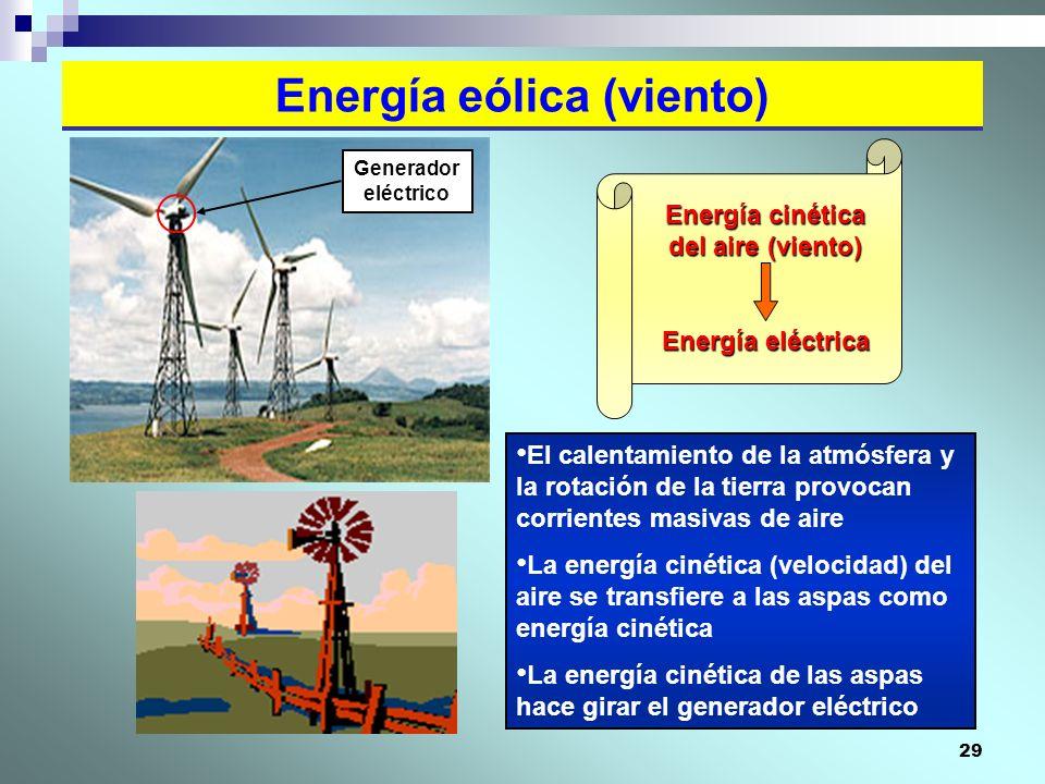 29 Energía eólica (viento) El calentamiento de la atmósfera y la rotación de la tierra provocan corrientes masivas de aire La energía cinética (veloci