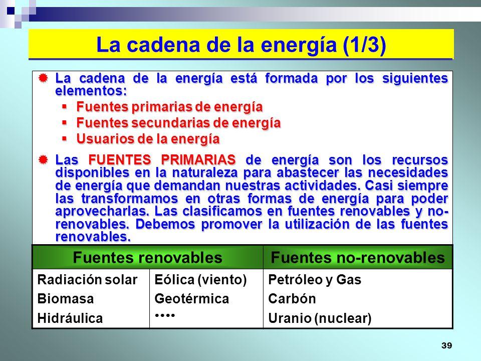 39 La cadena de la energía está formada por los siguientes elementos: La cadena de la energía está formada por los siguientes elementos: Fuentes prima
