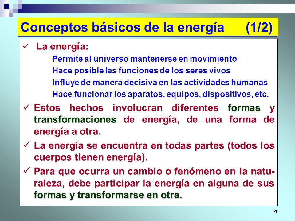 4 Conceptos básicos de la energía (1/2) La energía: Permite al universo mantenerse en movimiento Hace posible las funciones de los seres vivos Influye