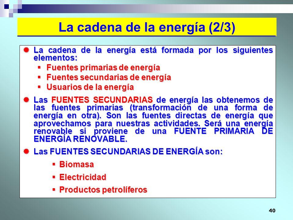 40 La cadena de la energía está formada por los siguientes elementos: La cadena de la energía está formada por los siguientes elementos: Fuentes prima