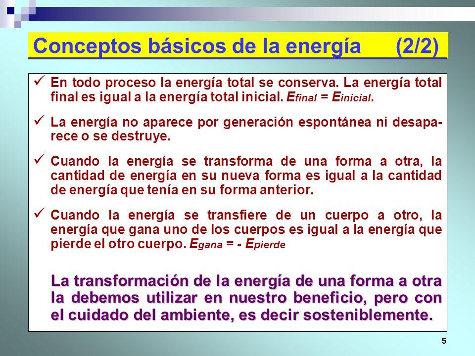 5 Conceptos básicos de la energía (2/2) En todo proceso la energía total se conserva. La energía total final es igual a la energía total inicial. E fi