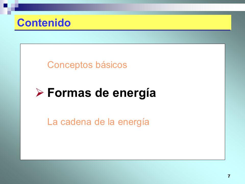 7 Contenido Conceptos básicos Formas de energía La cadena de la energía