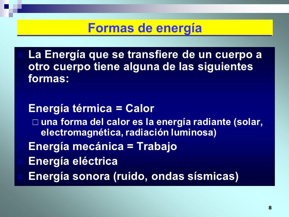 8 La Energía que se transfiere de un cuerpo a otro cuerpo tiene alguna de las siguientes formas: Energía térmica = Calor una forma del calor es la ene