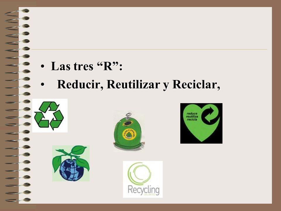Las tres R:Las tres R: Reducir, Reutilizar y Reciclar, Reducir, Reutilizar y Reciclar,